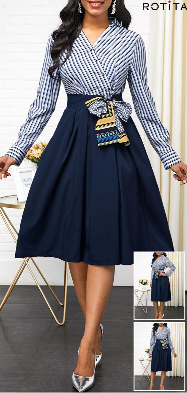 Button Detail Side Zipper Belted Dress