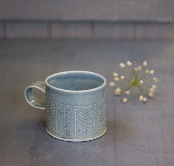 Dark Blue Porcelain Mug Porcelain Coffee Cup by FreeFolding