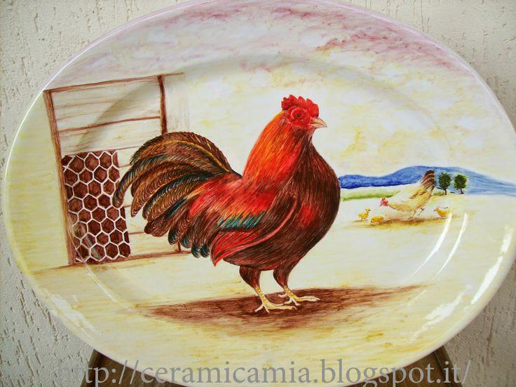 Decorazione country con gallo #Ceramica  #Italy http://ceramicamia.blogspot.it/2010/10/decorazione-maiolicaprima-e-dopo-la.html