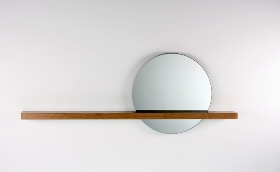 "Rise/Set Mirror, 18"" round mirror and solid wood shelf, Mirror on Right Side on Etsy, $297.21"