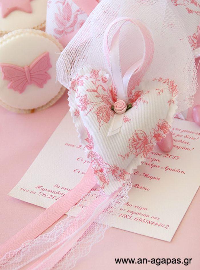 Μπομπονιέρα βάπτισης φουσκωτή καρδιά ρομαντικό ροζ   an-agapas.gr