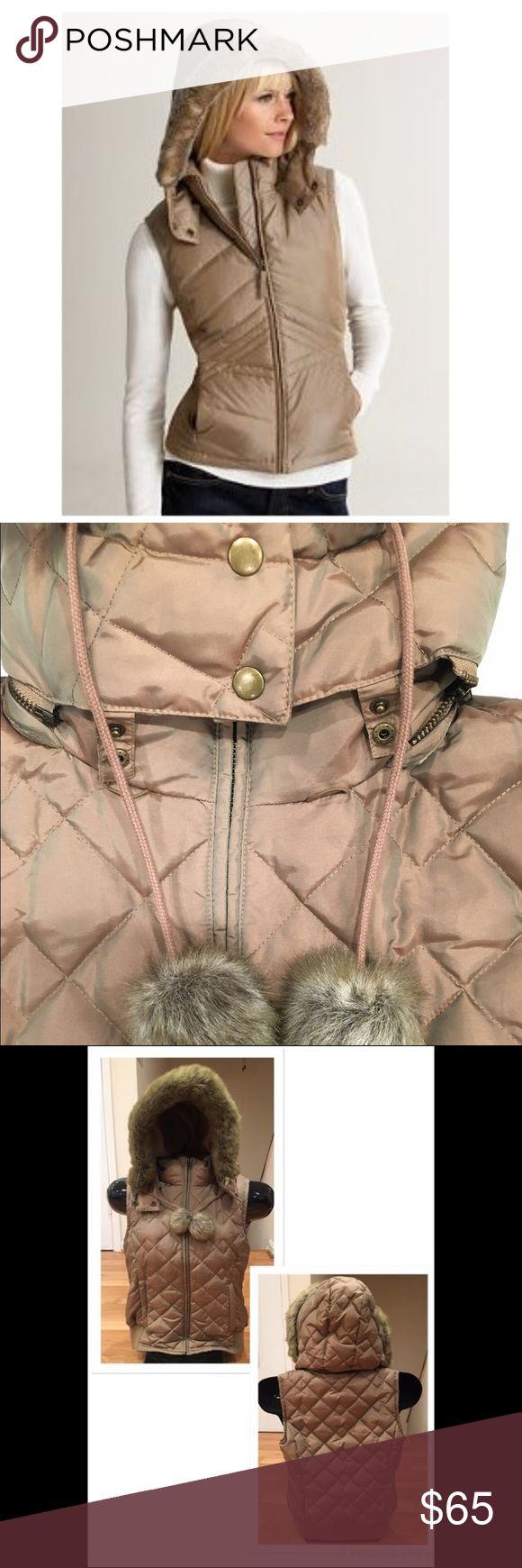 Ann Taylor Loft Down-filled Vest Down-filled gold metallic vest with detachable hood by Ann Taylor Loft.   EXCELLENT condition and will easily become a favorite purchase. This vest has a beautiful gold metallic sheen! There a just a very slight bit of piling on the inside, none on the outside. Otherwise, there are NO flaws. Hood is detachable. Fur in new condition! Super warm and on trend! Ann Taylor Jackets & Coats Vests