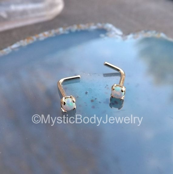 $49.95 Genuine 14K Gold Nose Ring 20g L Bend Shape by MysticBodyJewelry