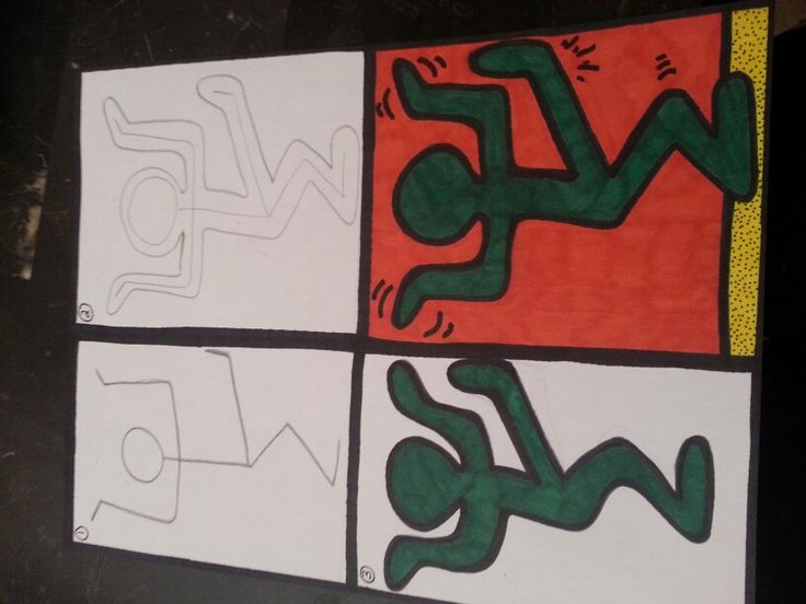 Keith Haring style people in motion art project for kids