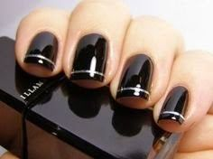 Very Easy Black Nail Art stylish