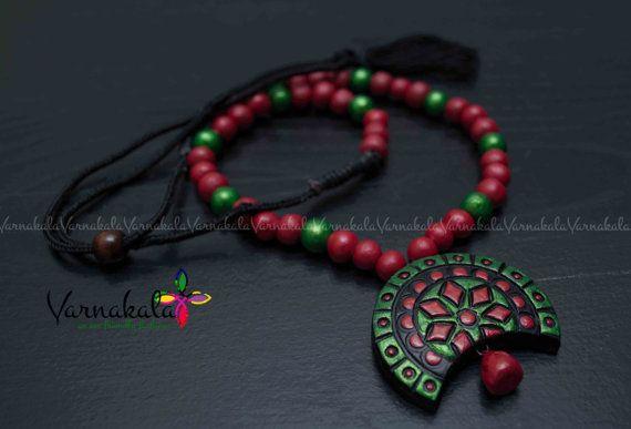 RED & METALLIC GREEN Terracotta jewelry Handmade by Varnakala
