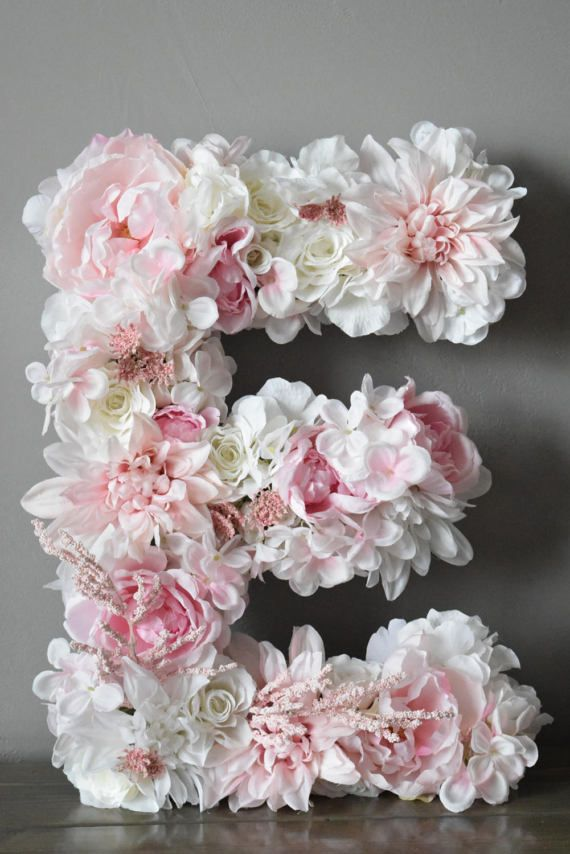 Bailey Begonia custom floral letters - click to see more on Etsy! Blush pink wedding, Floral letter, custom floral letter, large floral letter, flower letter, custom flower letter, large flower letter, blush pink flowers, blush pink wedding decor, monogram letter, monogram floral letter
