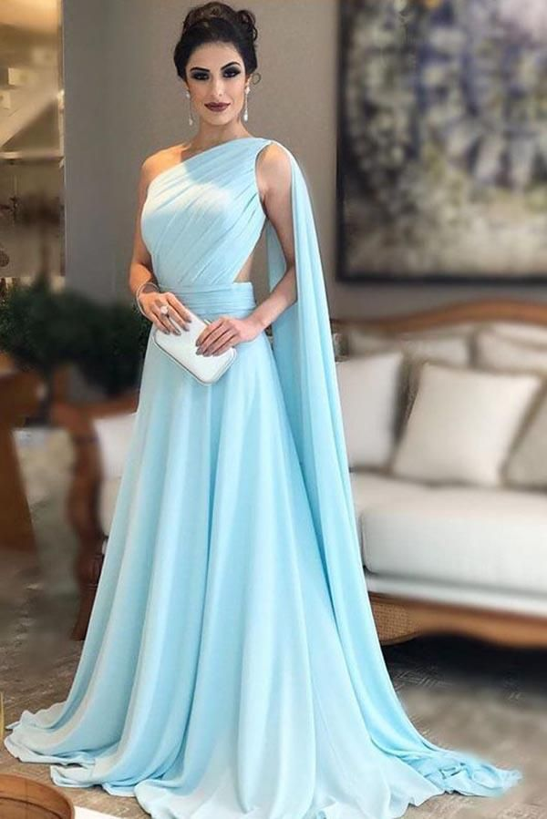 4d3ddef04b4 Browse Our Large Selection of Prom Dress,Buy Light Blue One Shoulder  Chiffon Formal Dresses Pleats Sheer Illusion Back Prom Gow… | Sam and Ryan  wedding in ...