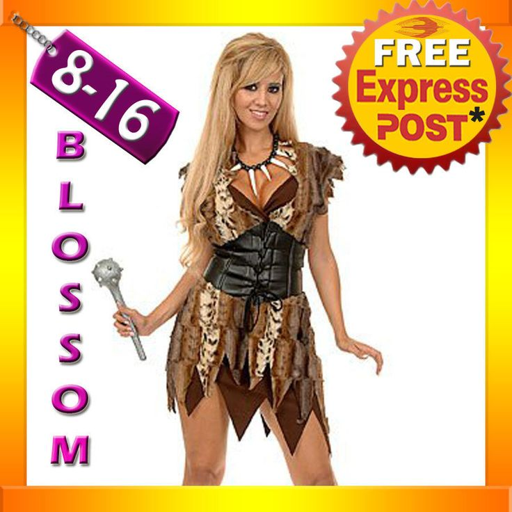 J7  Prehistoric Cave Girl Woman Jungle Jane Tarzan Cavewoman Fancy Dress Costume