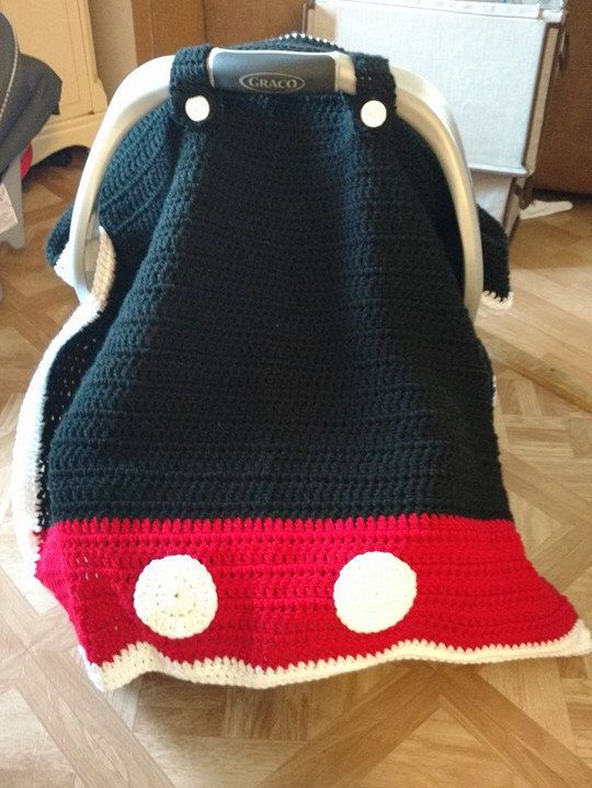 crochet mickey mouse carseat canopy by crochetsaracreations on Etsy https://www.etsy.com/listing/262959724/crochet-mickey-mouse-carseat-canopy