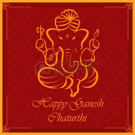 Lord Ganesha on floral backdrop Stock Vector