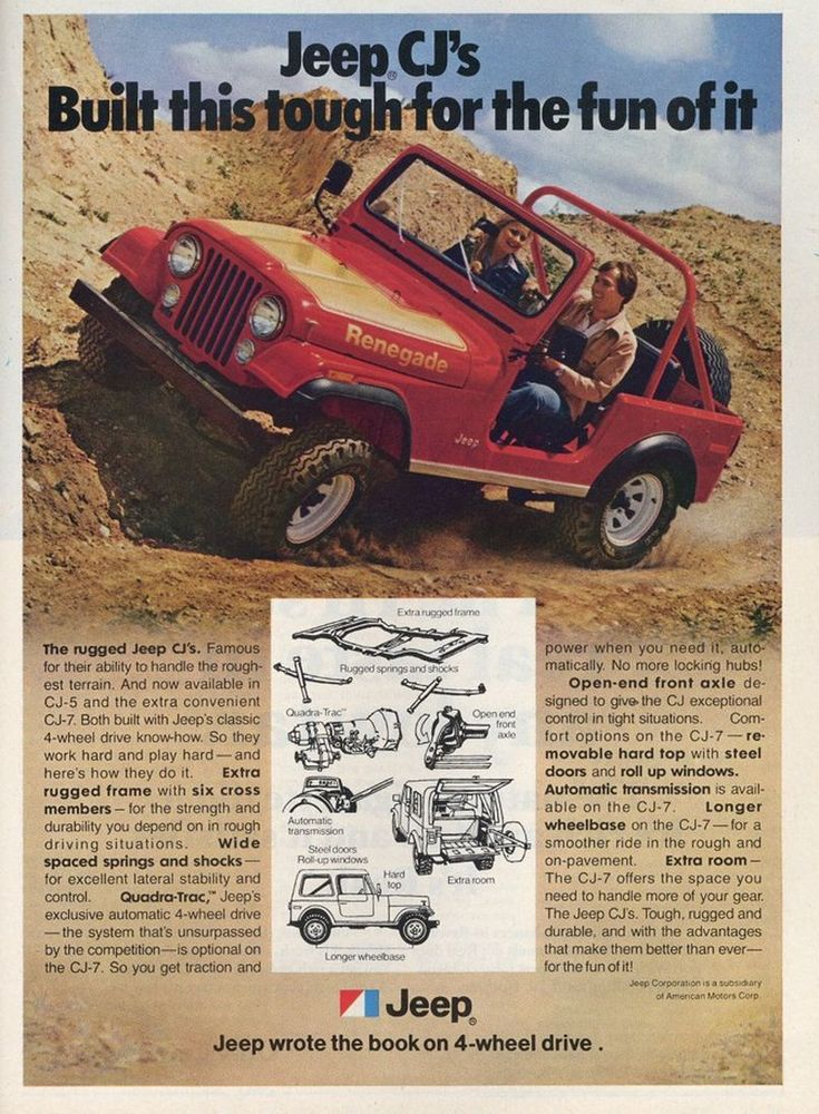 Used Jeep Renegade For Sale >> 1978 Jeep CJ-7 Renegade advertisement. | Jeep Ads - 1970s ...