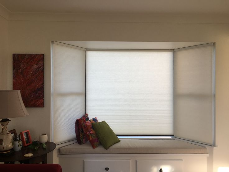 Margaret transformed her bay window with Veneta Cordless Bottom Up Honeycomb Blinds in Marshmallow.