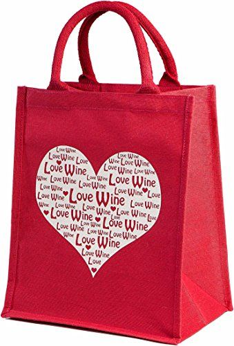 Deluxe 'Love Wine' 6 Bottle Wine Carrier Shopping Bag Jute Heart Cherry Red with removable dividers Just Perfect http://www.amazon.co.uk/dp/B00SLPF96G/ref=cm_sw_r_pi_dp_qJuLwb1EMPHVE