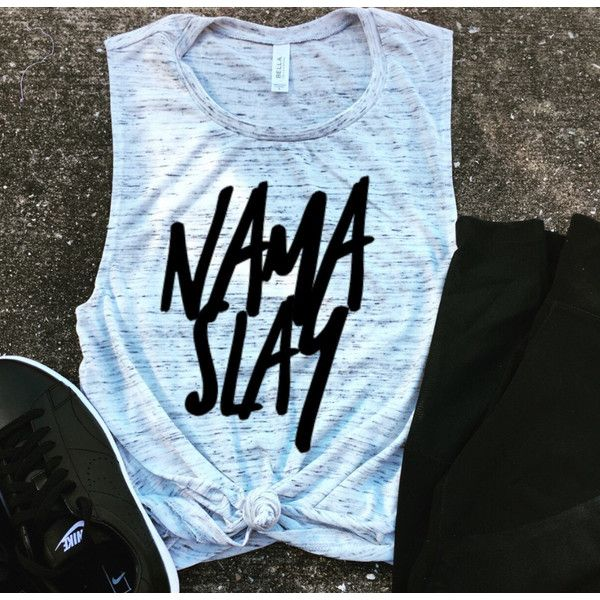 Namaslay Muscle Tee Workout Tank Beachbody Gym Shirt Yoga Funny Shirt... (€21) ❤ liked on Polyvore featuring grey, tanks, tops, women's clothing and muscle tank