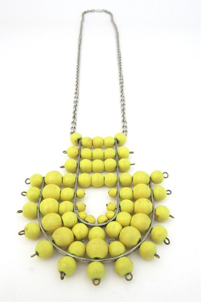 aarikka, Finland - vintage large canary yellow pendant necklace