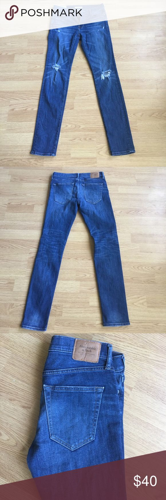 Abercrombie and Fitch jeans Dark wash Abercrombie and Fitch ripped jeans (29x32 supper skinny) worn a few times but still look brand new Abercrombie & Fitch Jeans Skinny
