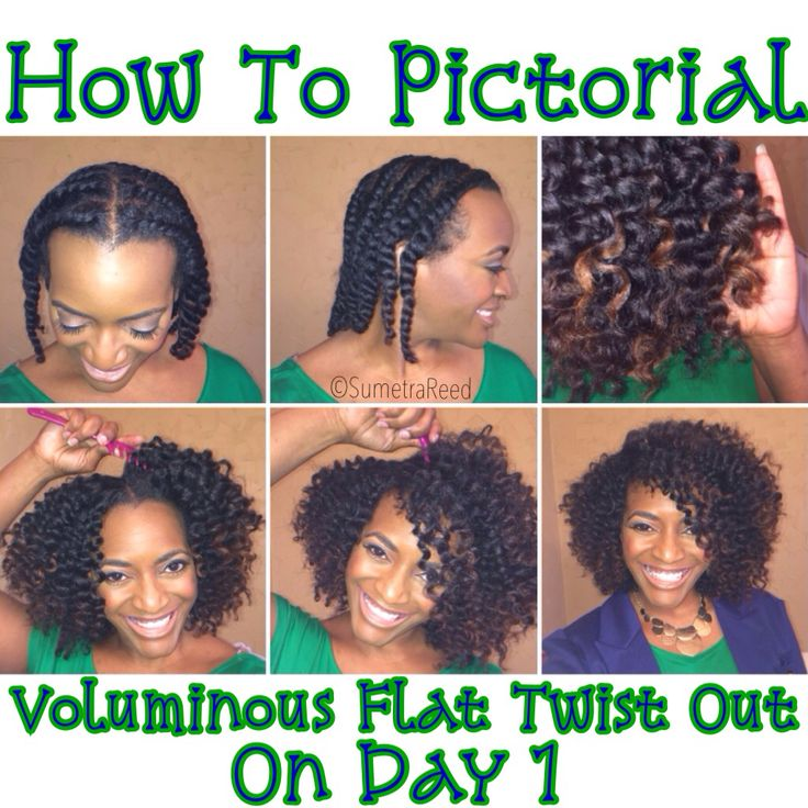 Sumerta Reed - Flat Twist Out Pictorial Step One: Install 11 small/medium sized flat twists on damp hair (used Cantu Argan Oil Leave In) Step Two: Allow to dry over night Step Three: Coat fingers with oil and carefully take down each twist Step Four: With a wide tooth comb or pick, lift hair at the roots Step Five: Position hair as desired and continue to lift the roots and fluff!