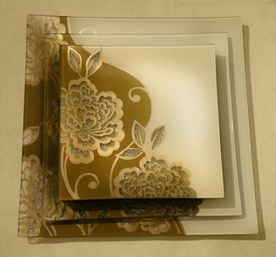 conjunto de platos pintados a mano.  plato de cristal,pintura para cristal,pintura para ceramica pintado a mano