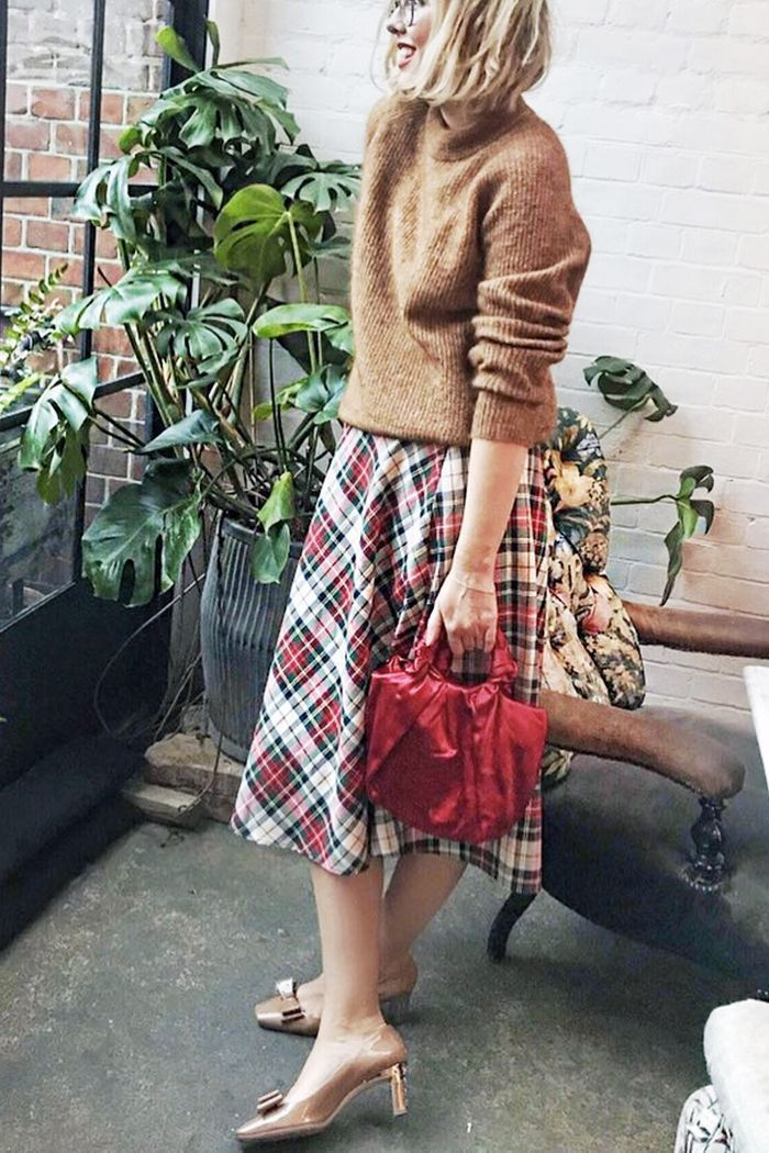 55f33d9686c Vtg plaid taffeta full circle skirt with a loose camel funnel neck sweater  and matching 60s feel shoes with squared toe
