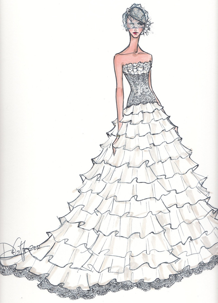 Custom Bridal Illustration. $165.00, via Etsy.