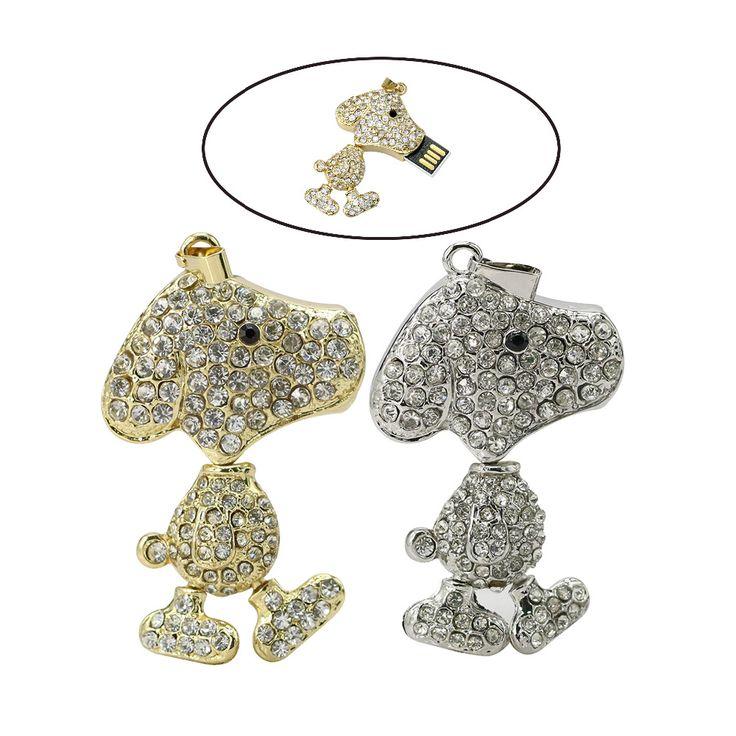 Jewelry USB Flash Drive 64GB Diamond Dog Pendrive 1GB Necklace Cle USB 128GB Memory Stick Girl Gift Pen Drive 16GB 32GB 2.0
