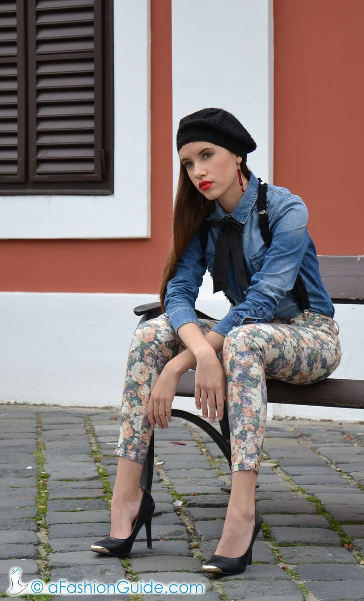 "Autumn outfit in blue jeans skirt and ""Artdrops"" assessories"