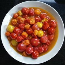 Turn cherry tomatoes and other small tomato varieties into a tasty condiment or sauce in a snap.