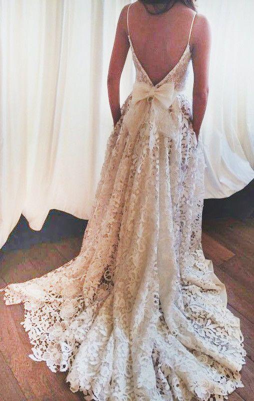 backless wedding dresses, lace wedding dresses, spaghetti straps wedding dresses, bridal gowns 2017, 2017 new arrival wedding gowns, wedding dresses with bowknot, long wedding dresses 2017, unique wedding dresses