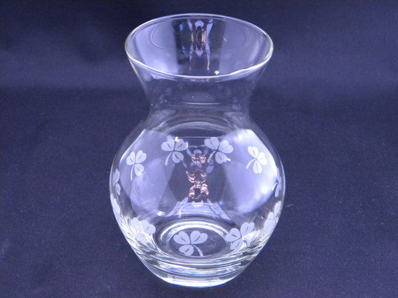 Vintage Small Glass Vase with White by PeregrinsTreasures on Etsy