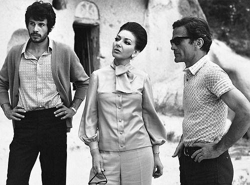 Maria Callas on the set of Medea with Pier Paolo Pasolini