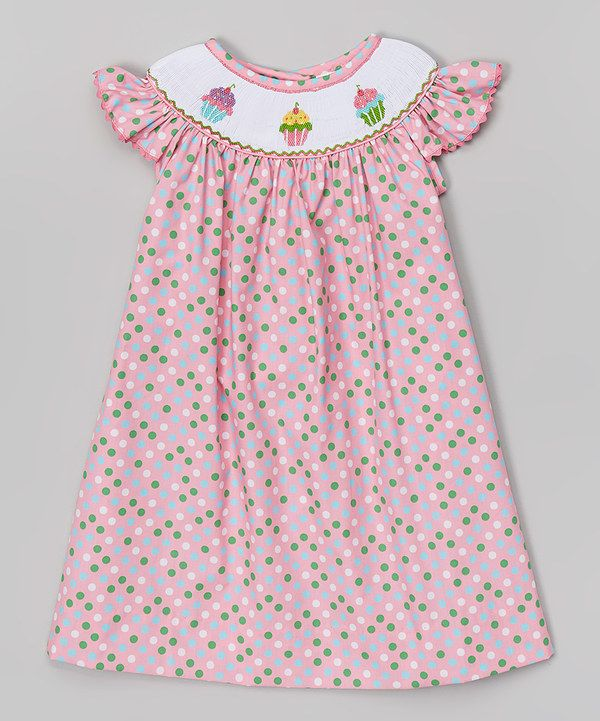 Look at this Pink Cupcake Smocked Angel-Sleeve Dress - Infant, Toddler & Girls on #zulily today!