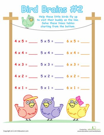 Worksheets: Times Table Birds #2