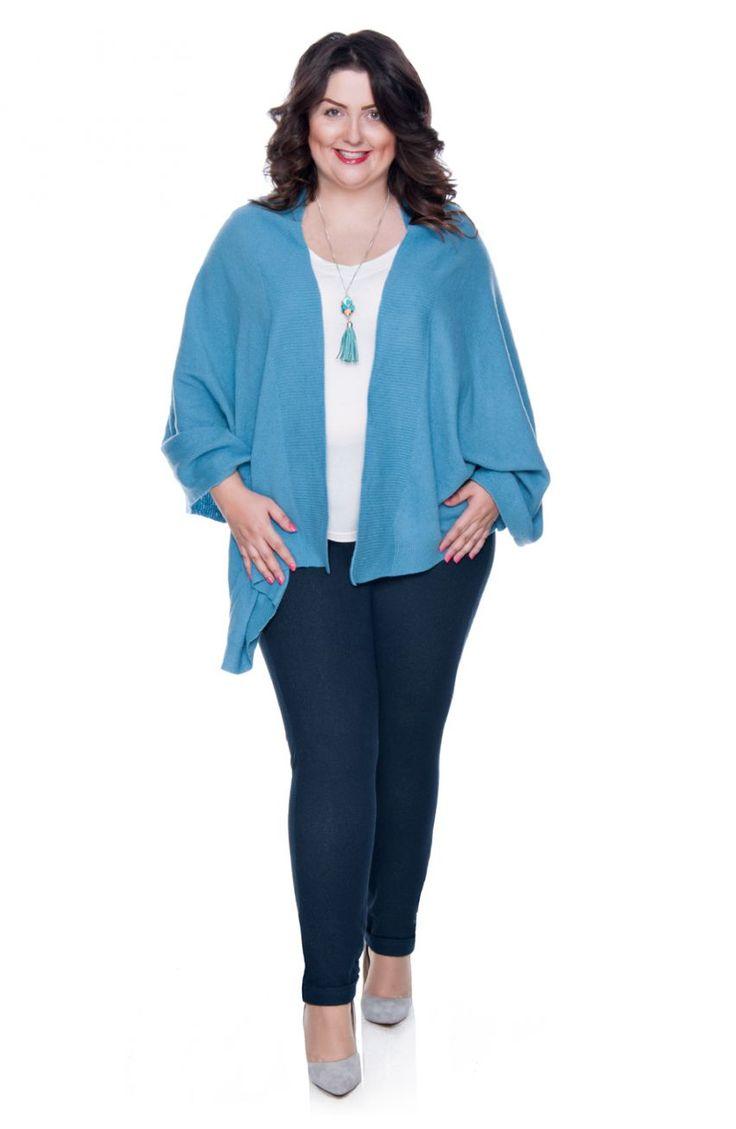 Błękitny wełniany szal-ponczo - Modne Duże Rozmiary