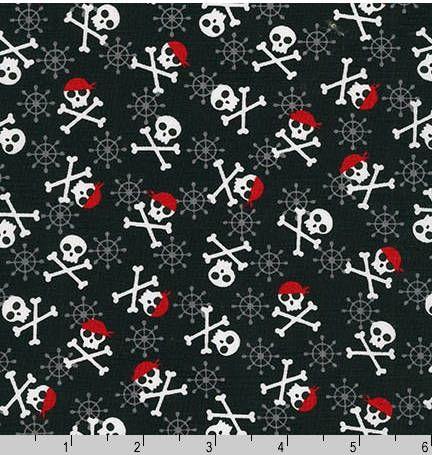 Fabulous Foxes Skull and Cross Bones Pirates  Cotton Fabric  -  Robert Kaufman Fabrics - Boys Fabric by PalmettoCottonFabric on Etsy