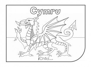 Cymru Flag colouring in picture - iChild