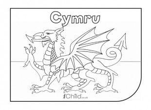 Cymru Flag colouring in picture - iChild