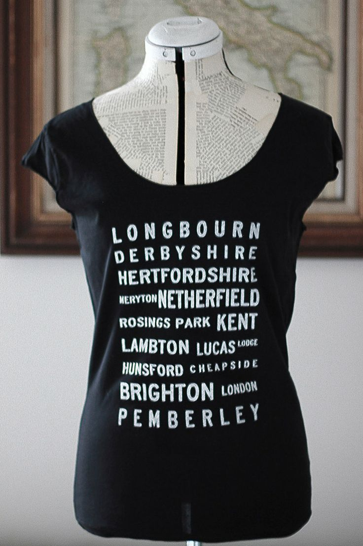 Pride and Prejudice Locations Typography t shirt