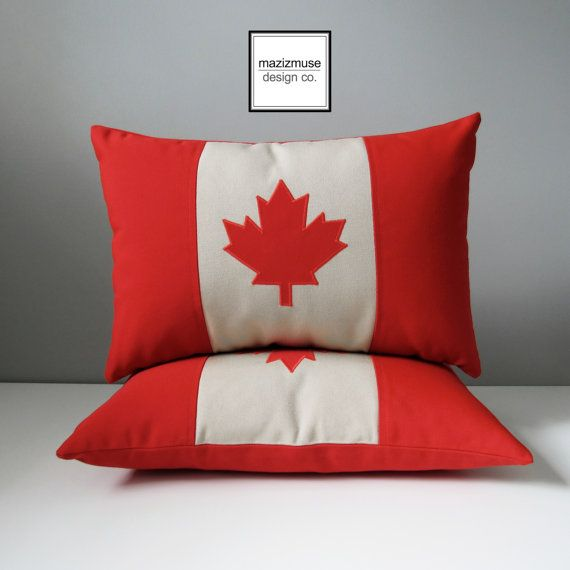 Canada Flag Pillow Cover Red Beige Canadian Flag by Mazizmuse