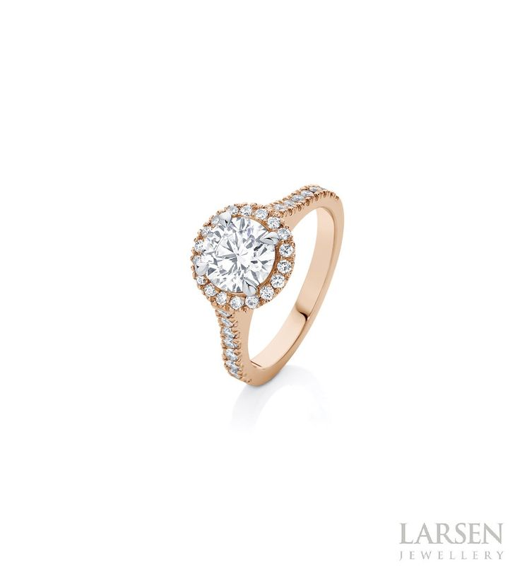 We're all loved up... with our Rosetta Brilliant in 18ct Rose Gold. For more details visit: https://goo.gl/k2ixYa  #larsenjewellery #rosegold #bling #rings #engagementrings