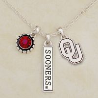 Oklahoma Sooners Triple Charm Necklace
