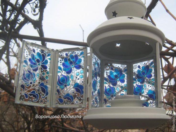 Мастер-класс: витражный фонарик в стиле «Гжель» - Ярмарка Мастеров - ручная работа, handmade