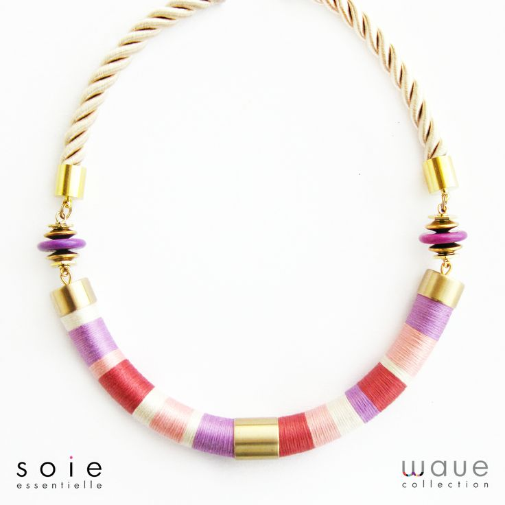 Vibrant colorful spring necklace, cayenne and orchid colors.