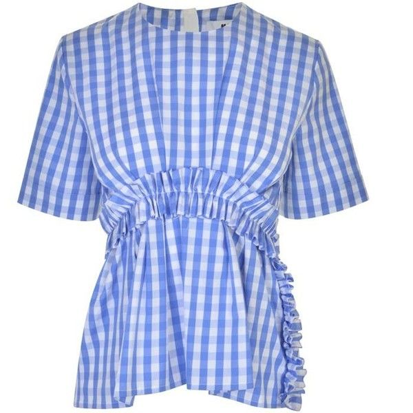 Msgm Gingham Ruffle Top ($220) ❤ liked on Polyvore featuring tops, blue, short sleeve ruffle top, frill top, flounce tops, short sleeve tops and blue short sleeve top