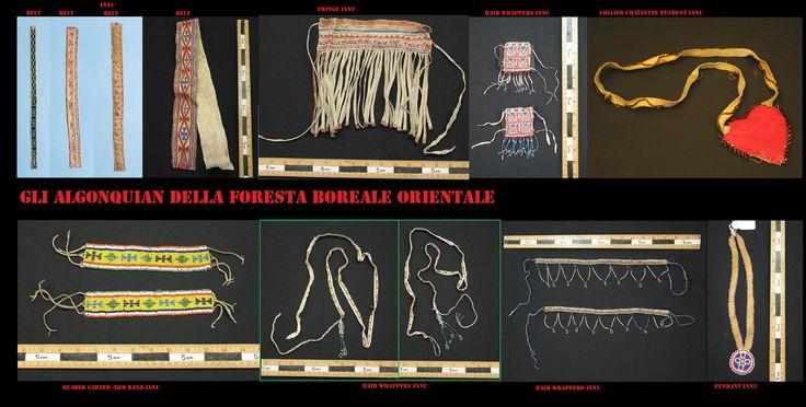 Ornamenti vari degli Innu, in particolar modo dei Naskapi, in pelle dipinta o ricamati con perline di vetro.