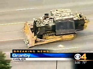 In 2004, after years of being harassed and victimized by the small town corrupt government of Grand Lake, Colorado, Marvin Heermeyer welded 30 tons of armor and concrete and went on a rampage that destroyed the town. No other vehicles or gunfire could stop him. Eventually the dozer crashed into a basement and he killed himself.