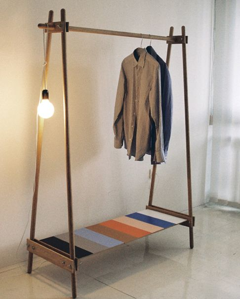 ana kras. DIY clothes rack. Love the pop of color