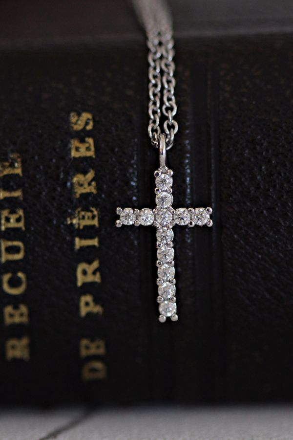 "Necklace with holy cross in silver rhodium and zirconia. ""The Cross is like a touch of eternal love from God."" #religious #medal #religious #silver #holy #mary #etsy #necklace #wedding #bride #bridal #jewelry #magnificat #virgin #mary #our #lady #prayer #jesus #christ #cross #amen #blessed #catholic #christian #rosaries #icon #crucifix #orthodox #bible #God #mother"