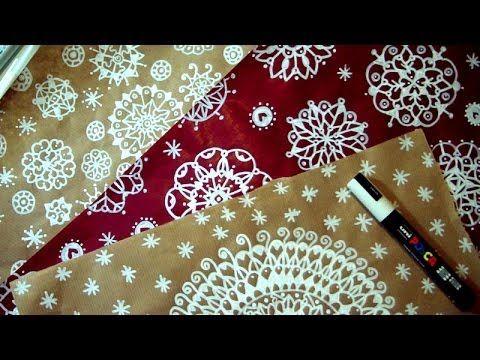 Christmas Mandala Art DIY paper decoration - Come decorare carta per regali di Natale - YouTube