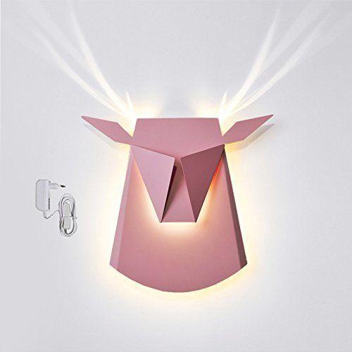 Popup Lighting Elegant Aluminium Wall LED Light Deer Head Fixture Electricity Plug in Pink, http://www.amazon.com/dp/B01B63XEDE/ref=cm_sw_r_pi_awdm_.llmybEGRVBWW